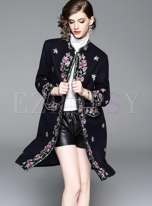 Retro Black Mandarin Collar Embroidered Hairy Coat