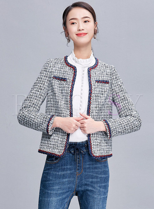 Color-blocked O-neck Grid Short Straight Coat