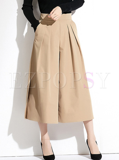 Fashion Zippered High Waist Wide Leg Pants