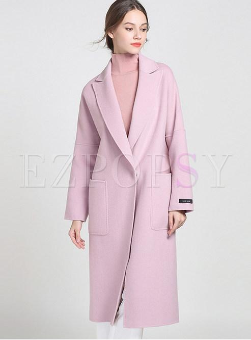 Solid Color Notched Slit Knee-length Coat