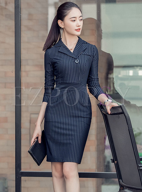 Work Striped Notched High Waist Bodycon Dress