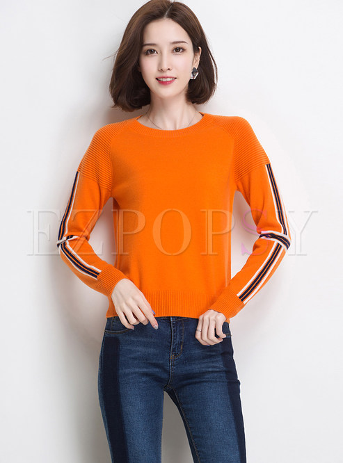 Color-blocked O-neck Long Sleeve Pullover Slim Sweater
