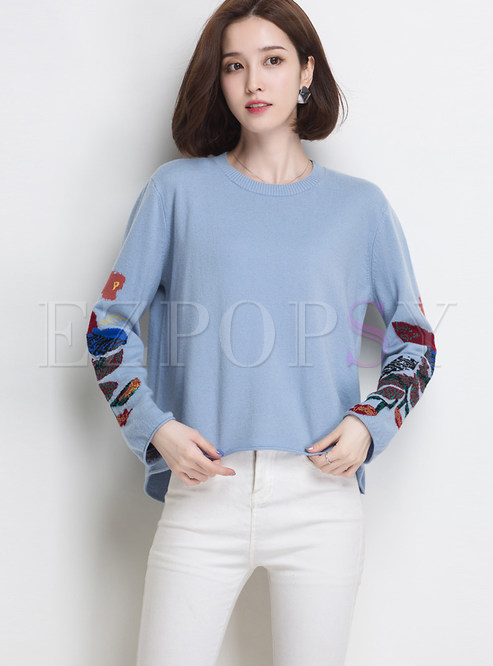 Irregular Loose Pullover Long Sleeve Print Sweater
