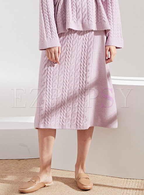 Stylish Solid Color Knitted A Line Skirt