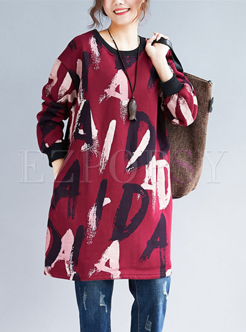 Stylish Letter Print O-neck Loose Sweatshirt