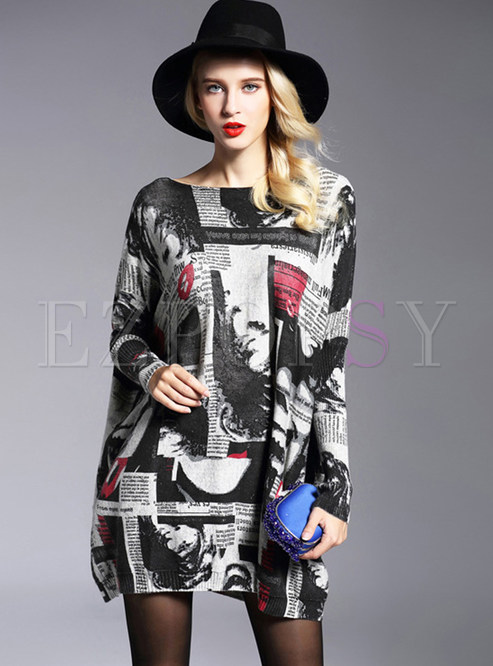 Autumn Slash Neck Plus Size Print Pullover Sweater