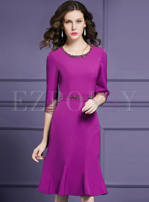 Elegant Drilling Gathered Waist Mermaid Dress