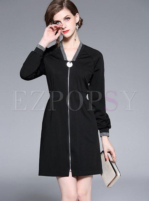 Fashion V-neck Embroidered Zipper-front Mini Dress
