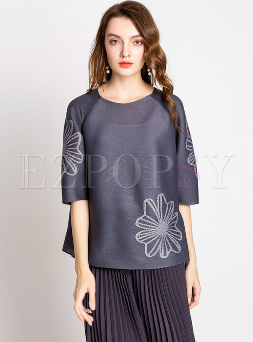 Chic Print Half Sleeve Drilling Loose T-shirt