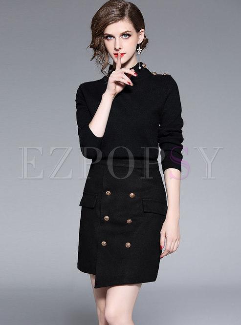 Casual Black Turtle Neck Sweater & Asymmetric Mini Skirt