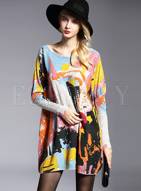Loose Print Pullover Bat Sleeve Knitted Sweater