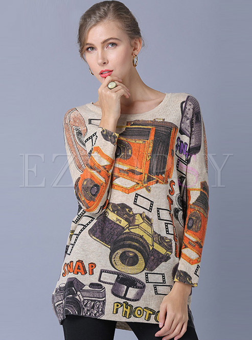O-neck Long Sleeve Pullover Loose Print Sweater