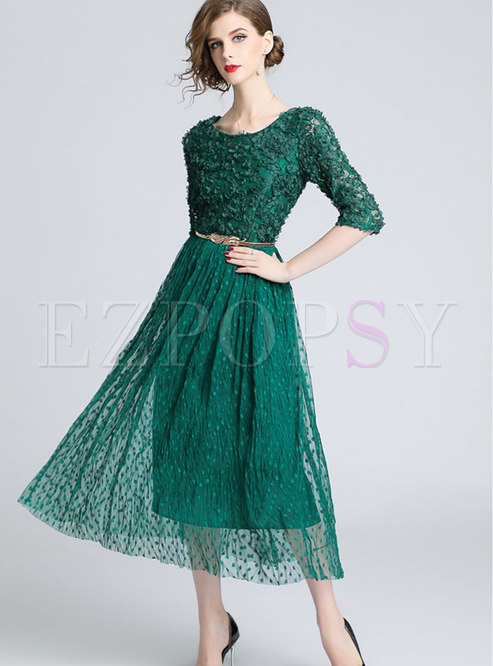Fashion Crew-neck Lace-paneled Double-layered Dress