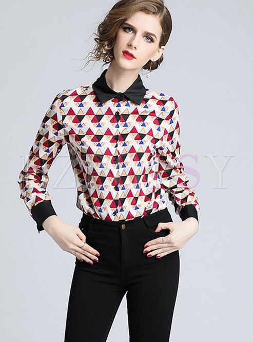 Stylish Contrast-collar All Over Print Blouse