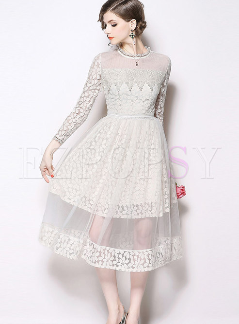 Fashion Lace Paneled Hollow Out Dress & Perspective Mesh Skirt