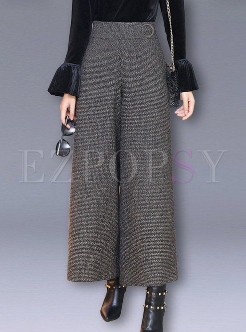 Casual Woollen High Waist Wide Leg Pants