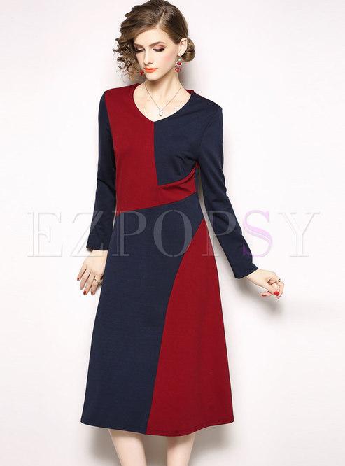 0d44c8a6535e Skater Dresses.   Fashion Hit Color Patchwork V-neck Midi ...
