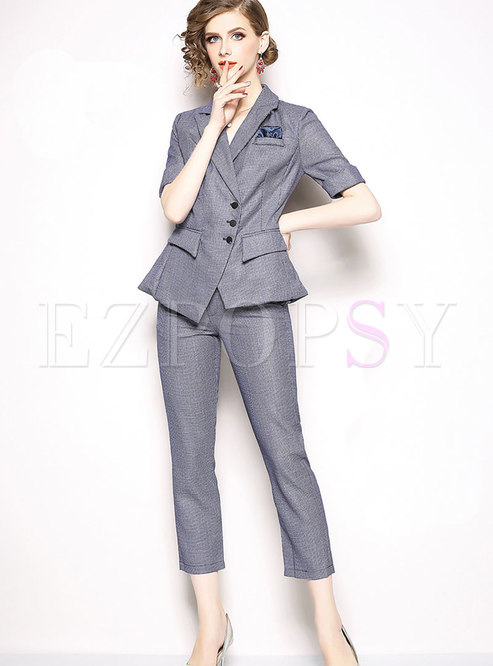 OL Fashion Lapel Blazer & Solid Color Pencil Pants