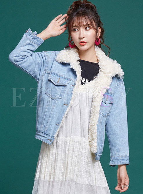 Light Blue Denim Fur Collar Single-breasted Coat