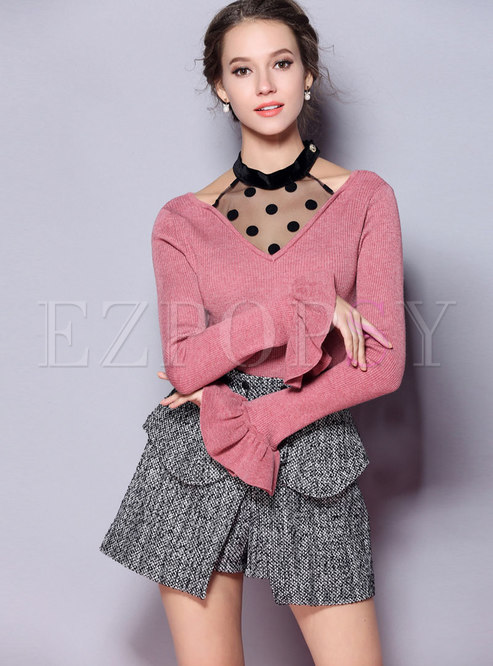 Chic Mesh Splicing Flare Sleeve Slim Sweater