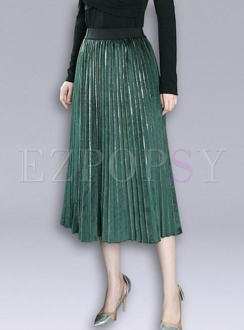 Trendy Solid Color Gold Velvet Pleated Skirt