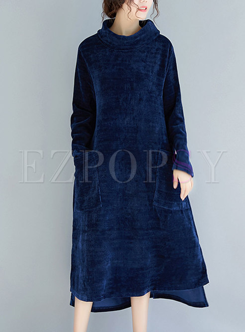 Solid Collar Velvet High Neck Asymmetric Shift Dress