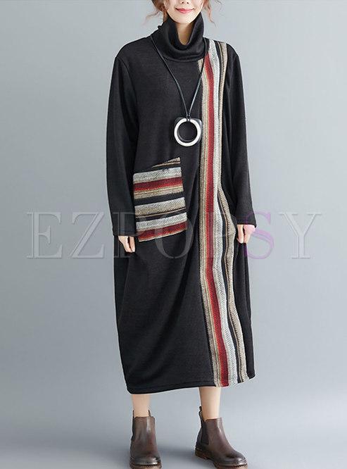 Stylish Striped Splicing High Neck Loose Maxi Dress