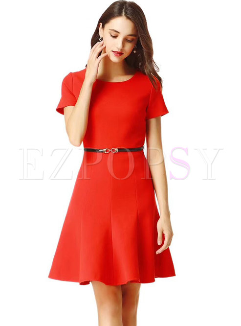 ffaa91ab8f5f Skater Dresses.   Brief Red Short Sleeve ...