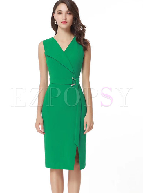 Trendy Green V-neck Sleeveless Belted Dress With Split