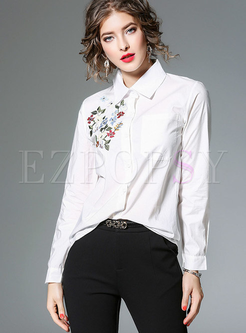 Turn Down Collar All-matched Embroidered Blouse
