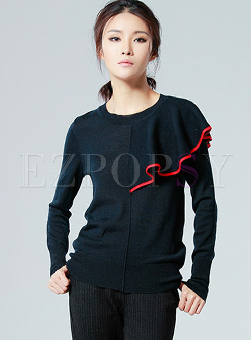Hit Color Splicing Long Sleeve Wool Sweater
