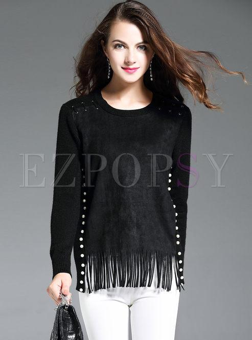 Suede Splicing Tassel Nail Bead Long Sleeve Wool Sweater