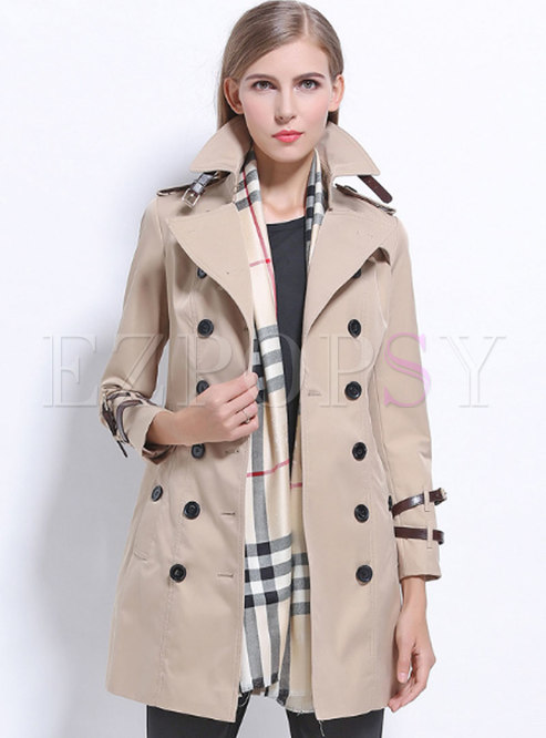 Khaki Stylish Lapel Double-breasted Belted Trench Coat