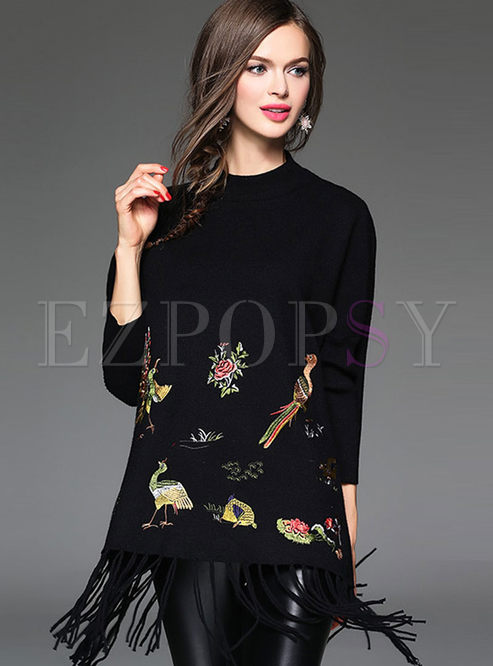 Embroideried Fringed Cashmere Pullover Sweater