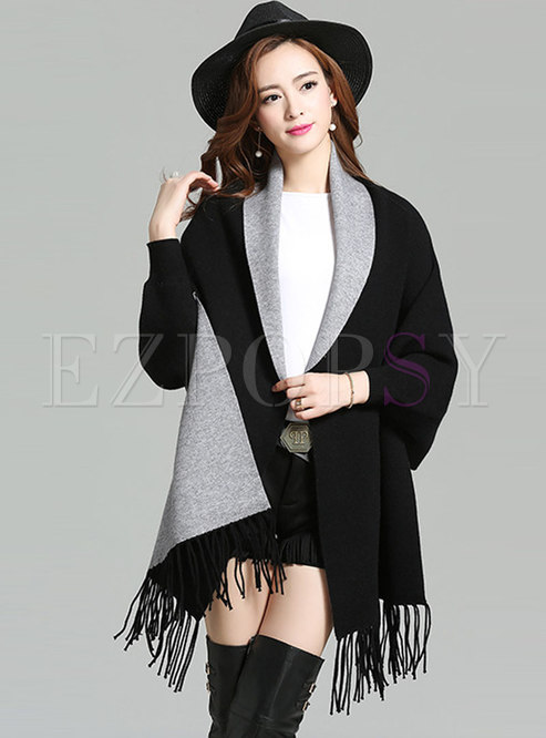 fd00aa935039 Sweaters.   Loose Tassel Patch Bat Sleeve Cardigan