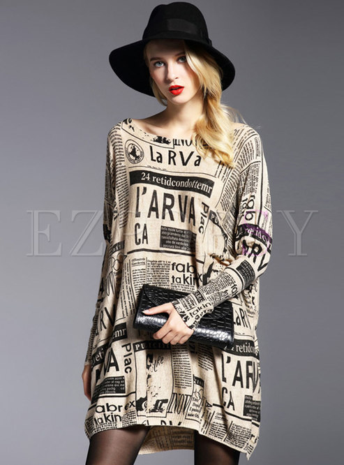 Chic Print O-neck Loose Pullover Knitted Dress