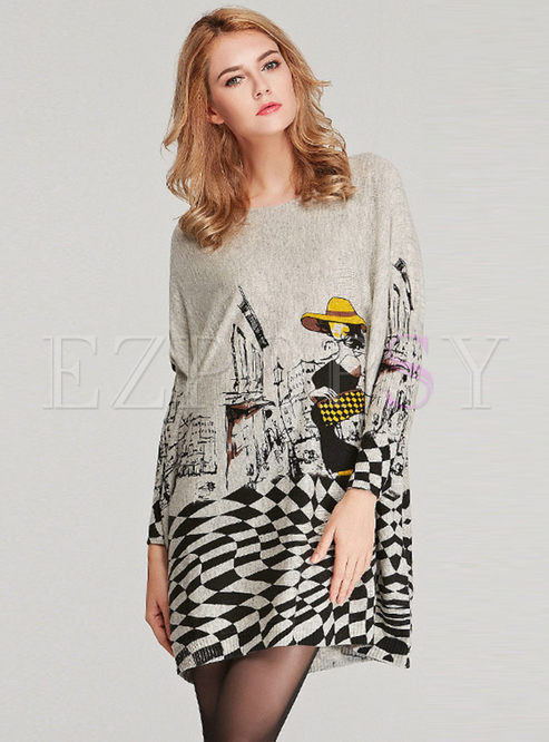 Plus Size Print O-neck Loose Pullover Knitted Dress