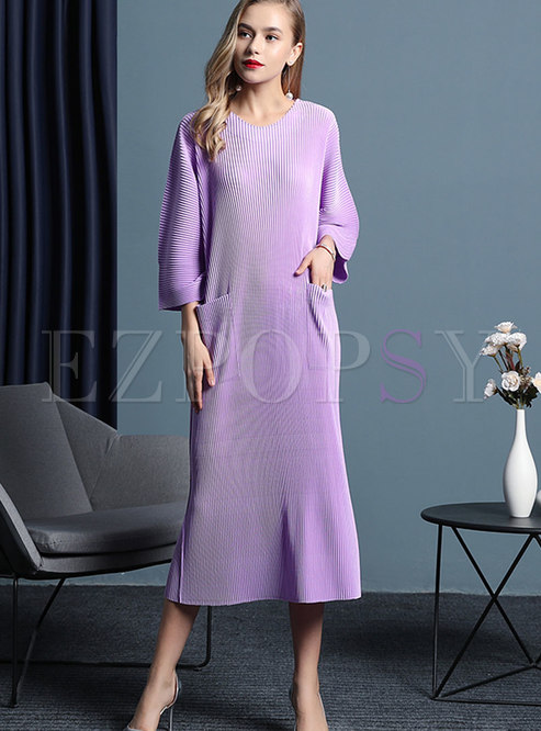 Elegant Purple Crew-neck Loose Plus Size Shirred Dress