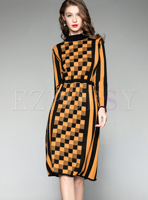 Half Turtleneck Long Sleeve Plaid Wool Dress