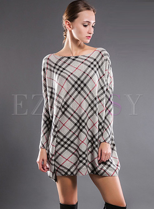 Loose Slash Neck Plaid Knitted Mini Dress