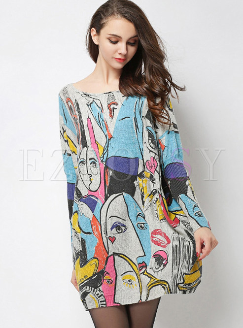 Loose Slash Neck Character Print Knitted Dress