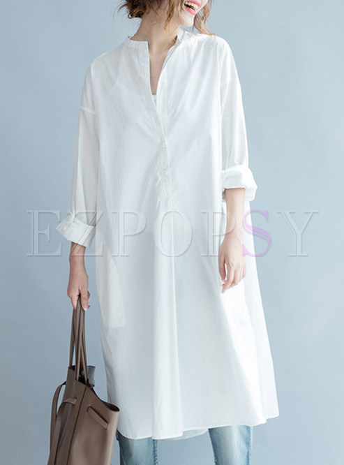 White Asymmetric Cotton Loose Dress
