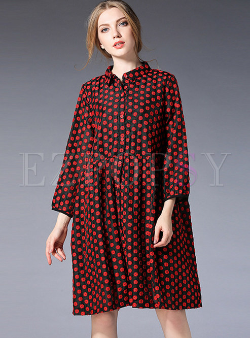 Embroidered Color-blocked Turn Down Collar Loose Dress