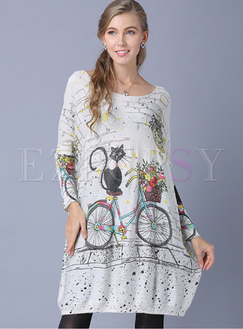 Fashion Slash Neck Cat Print Loose Mini Dress