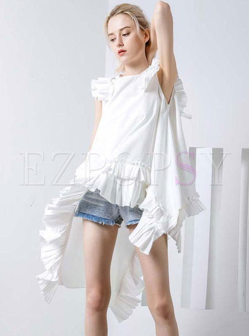 Loose White Asymmetric Sleeveless Hem Falbala Blouse