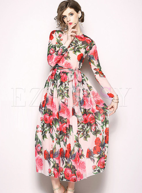 Sweet Floral Print Belted Chiffon Dress