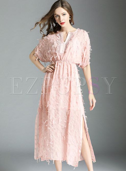 Pink Batwing Sleeve Tassel Chiffon Dress