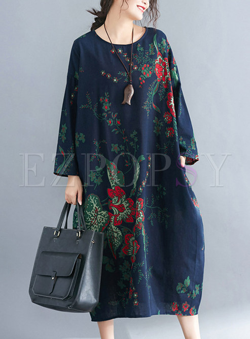 Casual Floral Print Long Sleeve T-shirt Dress