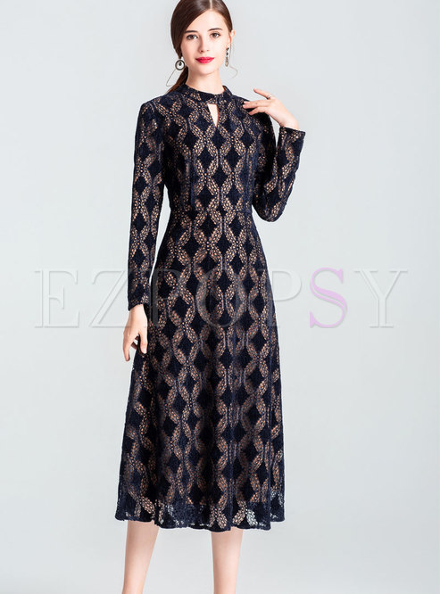 Fashion Black Lace-paneled Big Hem Maxi Dress