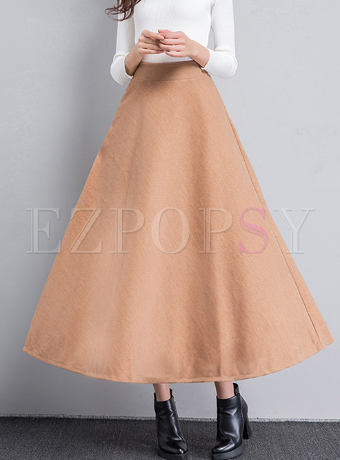 Brief Solid Color Big Hem Woolen Skirt